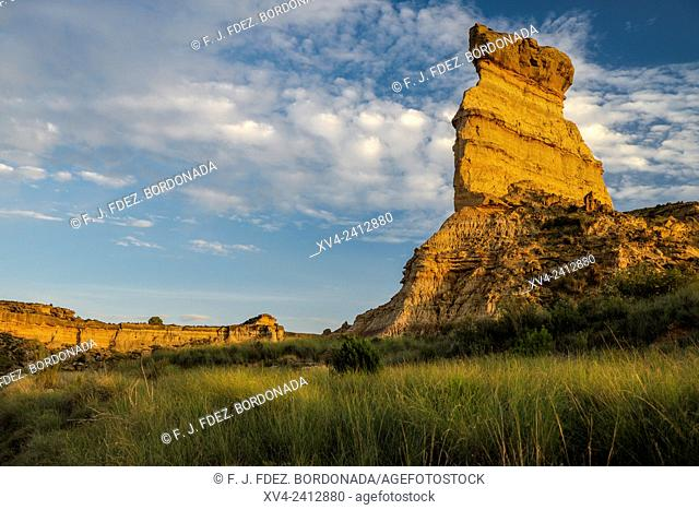 Geology and rock formations at Jubierre. Monegros area. Huesca, Aragón