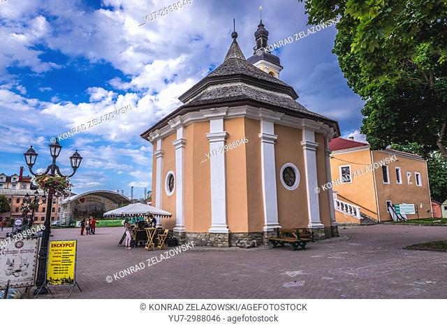 Armenian well on the main square of Old Town of Kamianets-Podilskyi city in Khmelnytskyi Oblast of western Ukraine