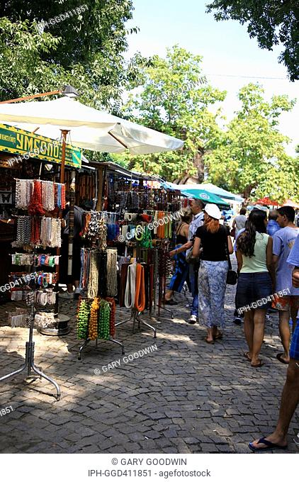 Tourist market stalls in the old fishing village of Sozopol