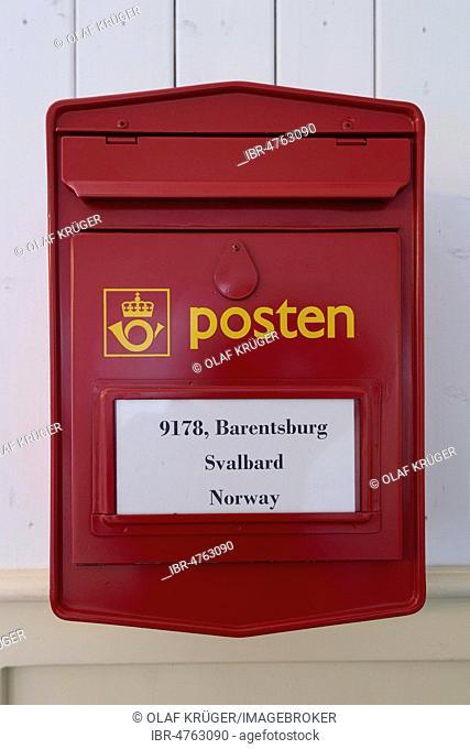 Red mailbox, Russian miners' settlement Barentsburg, Isfjorden, Spitsbergen, Svalbard, Norway