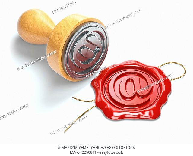 E-mail sign sealing wax stamp isolated on white background. Internet communication concept. 3d illustration