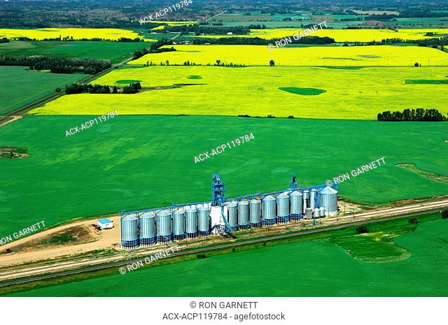 aerial, Richardson International grain handling facility, Lamont, Alberta
