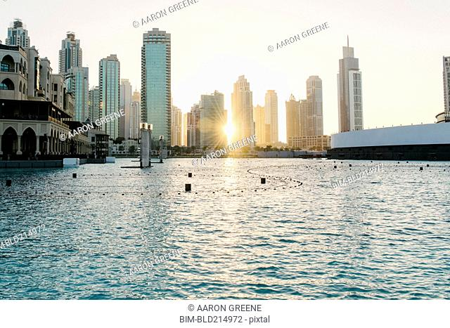 Sunset over city skyline, Dubai, United Arab Emirates