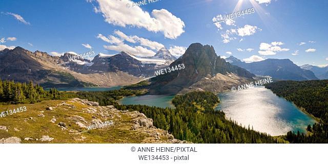 Mount Assiniboine, Sunburst Peak (foreground). in Mt.Assiniboine Provincial Park with Cerulean Lake, Sunburst Lake, Lake Magog