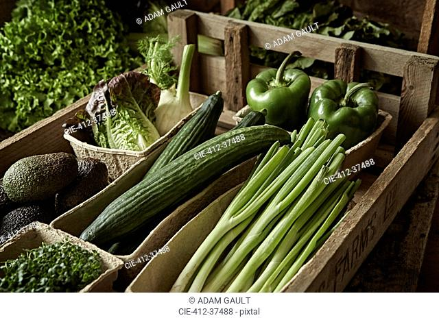 Still life fresh, organic, healthy, green vegetable harvest variety in wood crate