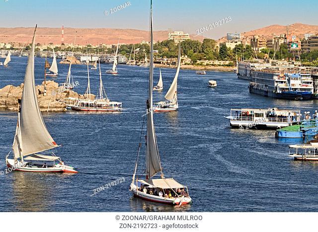 Egypt Aswan Falukas On The Nile