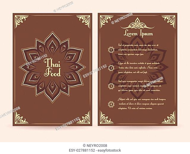 Thai food menu vector template. Menu food template, brochure menu food, restaurant menu food thai illustration