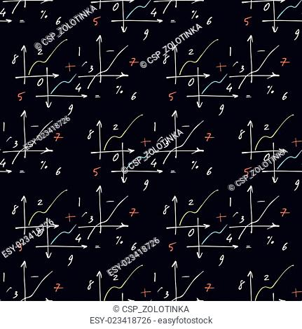 Seamless pattern with elements of geometry and mathematics