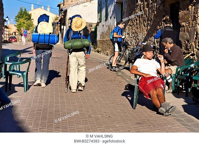 morning mood in front of a pilgrim's hostel, Spain, Kastilien & Len, Santa Catalina de Somoza