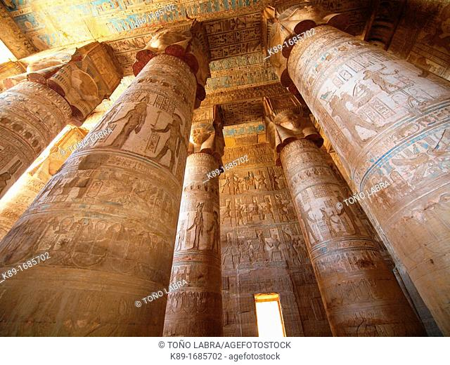 Hypostyle Hall. Dendera temple dedicated to Hathor goddess. Upper Egypt