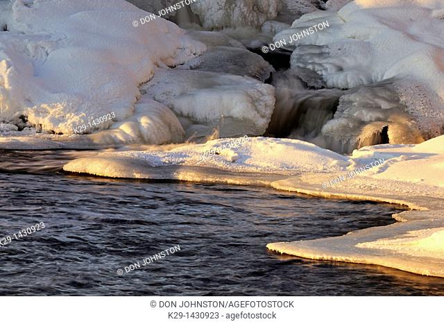 Ice formations on the Vermilion River, near a waterfall Whitefish Ontario