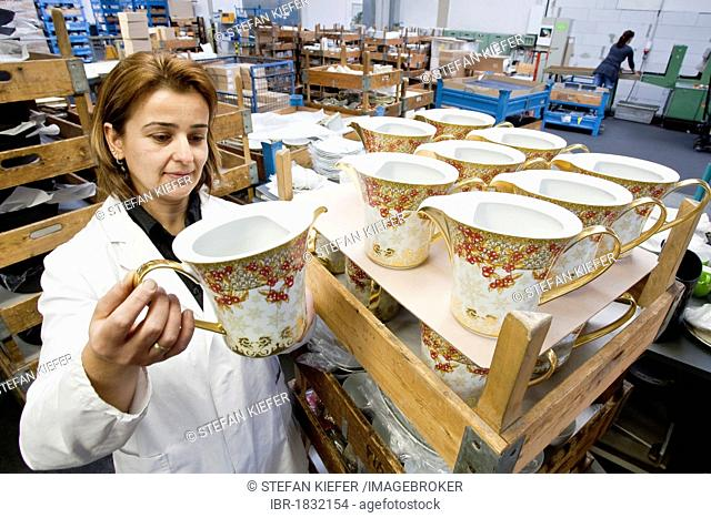 Employee during the final inspection of Versace teapots at the porcelain manufacturer Rosenthal GmbH, Speichersdorf, Bavaria, Germany, Europe