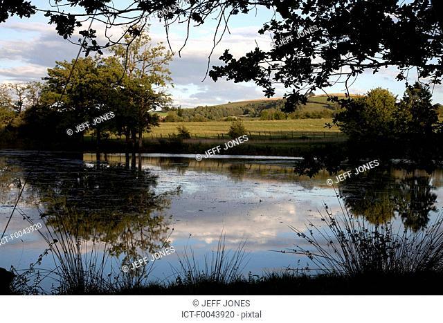 France, Aveyron, pond