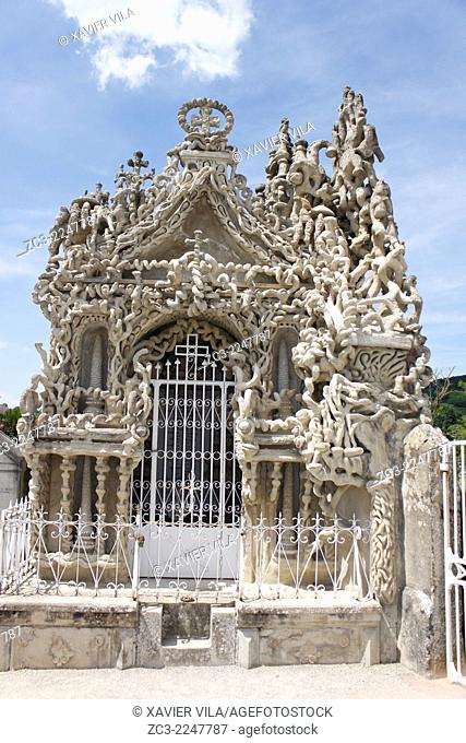 Tomb of Ferdinand Cheval in the cemetery of the village. From 1879 to 1912, French postman Ferdinand Cheval built his Ideal Palace