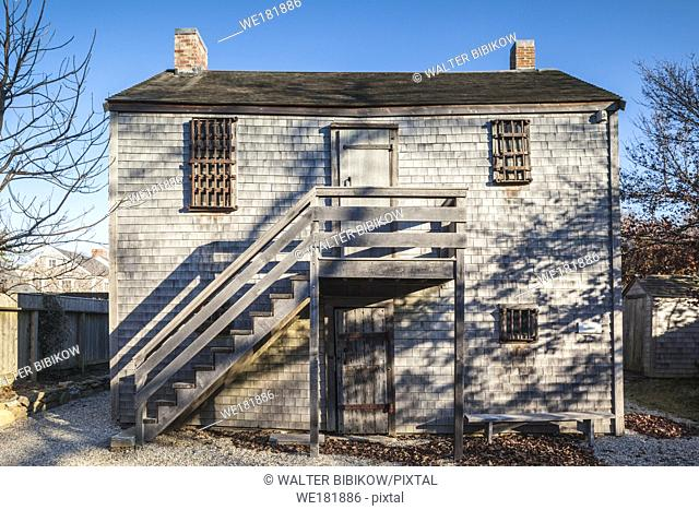 USA, New England, Massachusetts, Nantucket Island, Nantucket Town, The Old Gaol, the town's old jail and house of correction until 1933