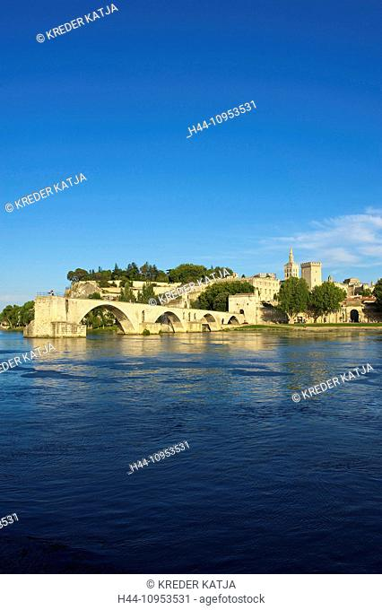 France, Europe, Provence, South of France, Avignon, Saint Benetzet, bridge, architecture, landmark, place of interest, building, architecture, Rhone, view, town