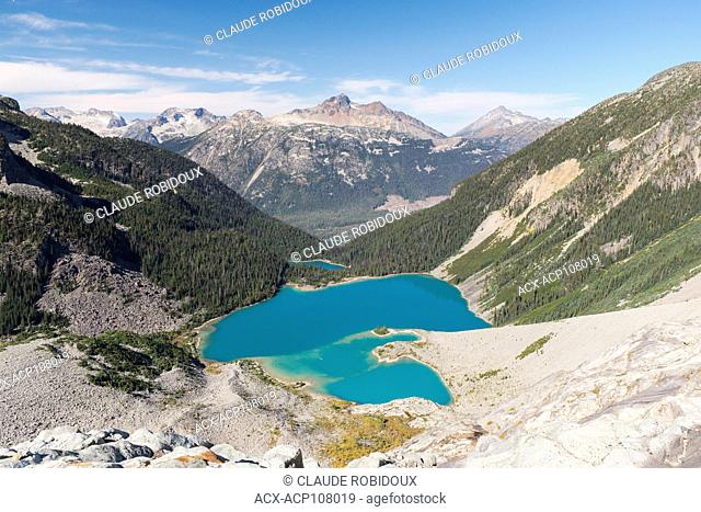View of Lower Lake, Middle Lake and Upper Lake in Joffre Lakes provincial park, British Columbia, Canada