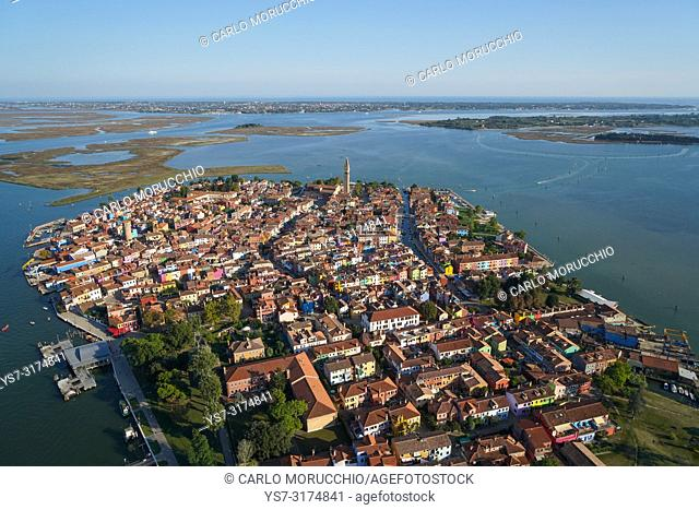 Aerial view of Burano island, Venice Lagoon, Italy, Europe