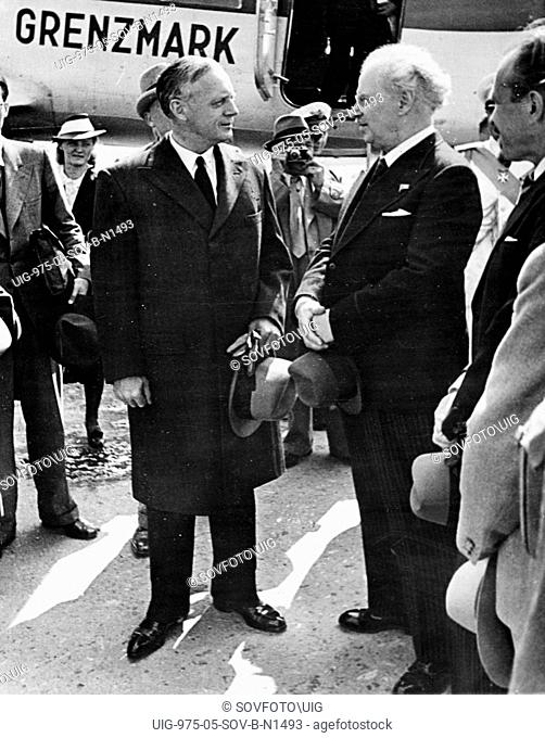 German minister for foreign affairs, joachim von ribbentrop (left), arrives at the central airport in moscow for the signing of the treaty of non-aggression...