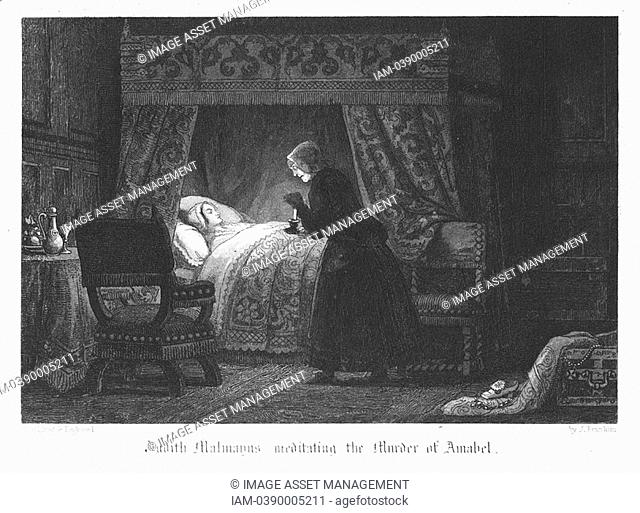 Judith Malmayns, the wicked plague nurse, contemplating the murder of Amabel Bloundel, which she accomplishes by puncturing the girl's neck with a needle...