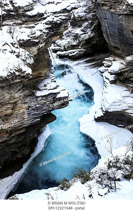 Athabasca Falls in winter, Jasper National Park; Alberta, Canada