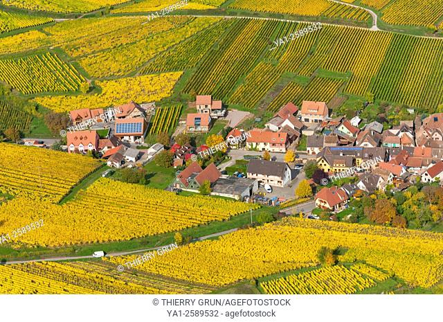 France, Haut Rhin 68, Wines road, village of Hunawihr, village classified most beautiful french village aerial view