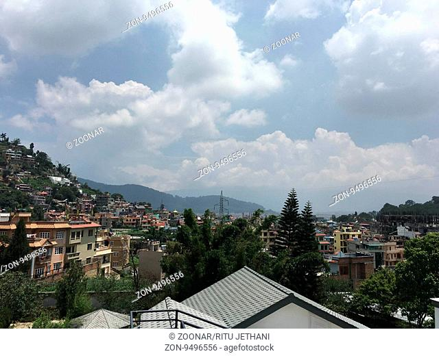 View of the mountains in Kathmandu in Nepal