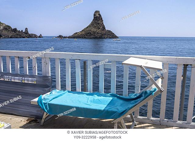 The islands of the Cyclopes, Lido, Aci Trezza, Aci Castello, Catania, Sicily, Italy