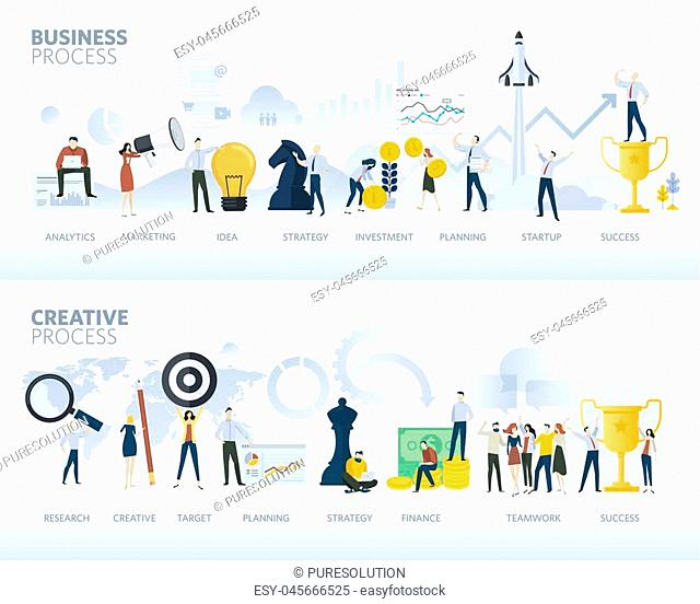 Vector illustration concepts for business plan, startup, design process, product development, creativity and innovation