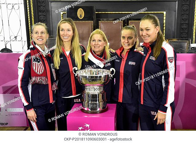 From left tennis players of USA ALISON RISKE, DANIELLE COLLINS, KATHY RINALDI (captain), SOFIA KENIN, NICOLE MELICHAR pose for photographers during the draw of...