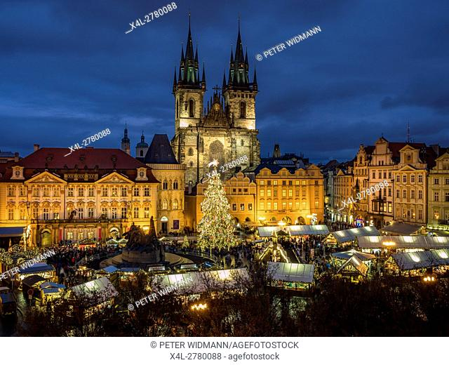 Christmas market at the Old Town square in Prague, Czech Republic, Europe