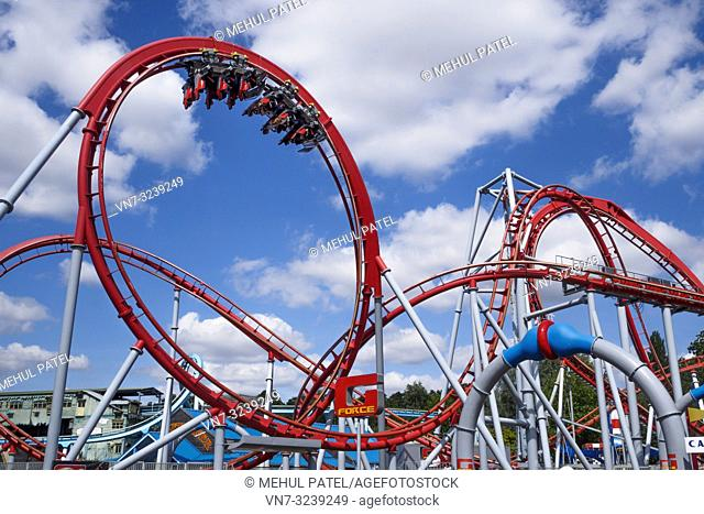 Twists and turns of G-Force rollercoaster ride, Drayton Manor Park, Drayton Bassett, Staffordshire, England, UK. The G-Force rollercoaster cost around 3 million...