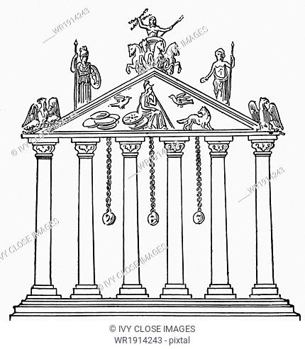 This depiction of the Temple of Jupiter on Rome's Capitoline Hill is taken from a Roman coin. In the pediment is a female figure representing Rome; to the right...