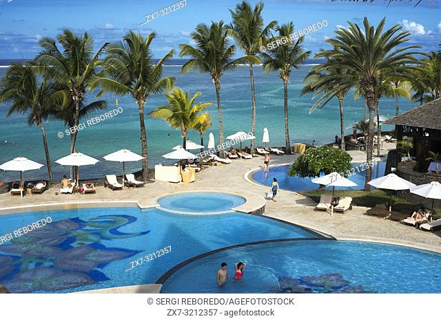 Pool of Hotel The Residence, Belle Mare beach, Mauritius, Africa