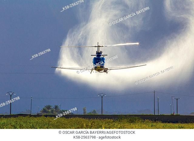 Crop-dusting helicopter spraying in the Ebro Delta