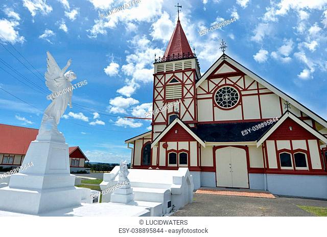 ROTORUA, NZL - JAN 11 2015:St Faith's Anglican Church.Rotorua is a major travel destination known for its geothermal activity and hot mud pools