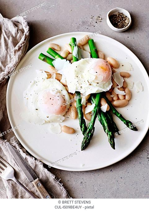 Poached eggs with asparagus on white plate, close-up