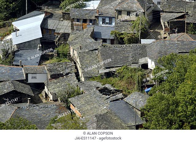 Hamlet rooftops, Serra do Courel, Lugo Province, Galicia, Spain