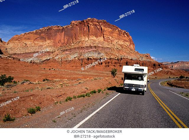 USA, United States of America, Utah: Capitol Reef National Park Traveliing in a Motorhome, RV, through the west of the US