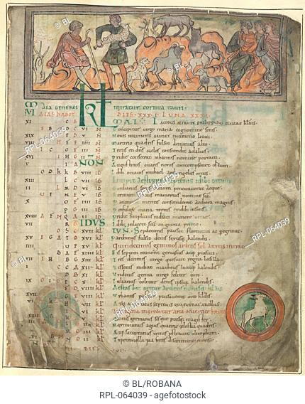 Tending sheep Whole folio Calendar page for May. Two shepherds with their flock one holding a crook and three seated figures