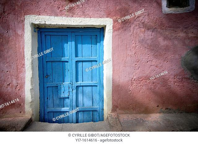 Colourful door of a traditional house in the Berber village of Adai, near Tafraoute, Morocco