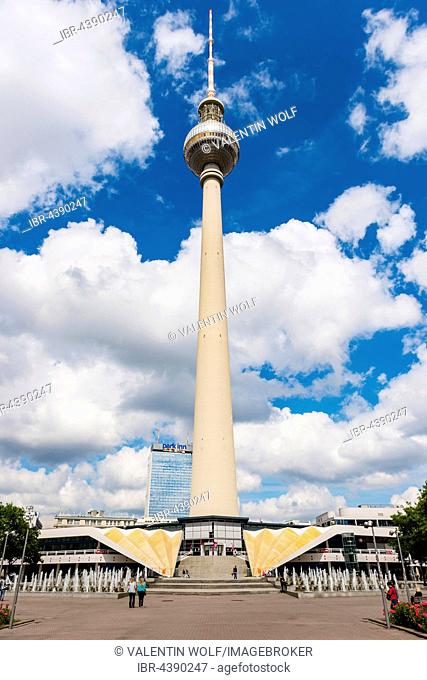 Television tower Alex with cloudy sky, Alexanderplatz, Berlin-Mitte, Berlin, Germany