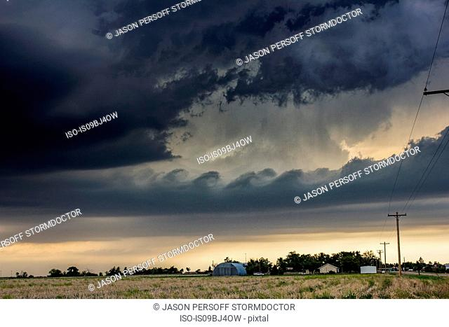 Kelvin-Helmholtz waves form on tornadic thunderstorm, Quinter, Kansas, US