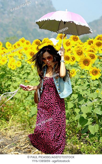 girl with umbrella walking through sunflower field , sunflower fields of lopburi , central thailand