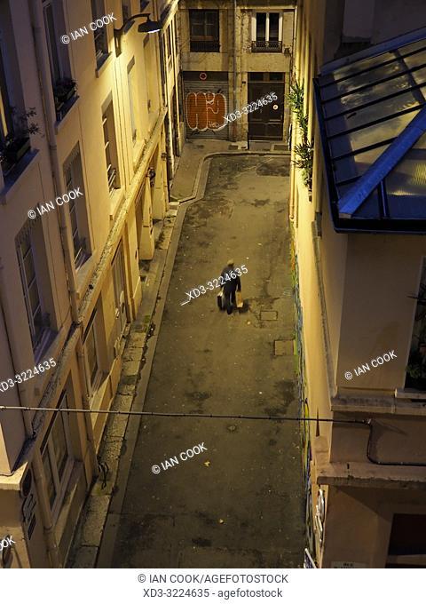 man on Rue des Templiers, Lyon, Auvergne-Rhone-Alps, France
