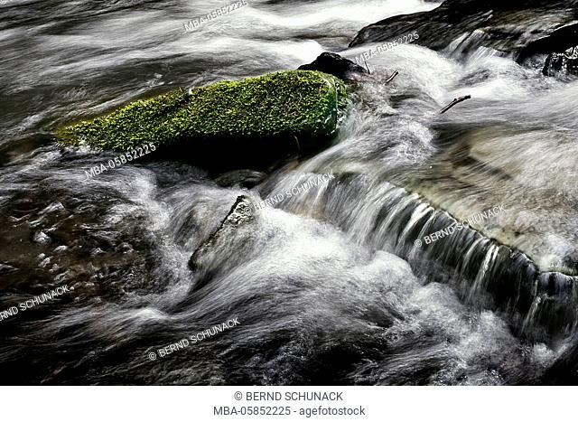 mossy stone in the rushing brook