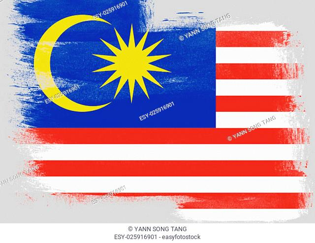 Flag of Malaysia painted with brush on solid background