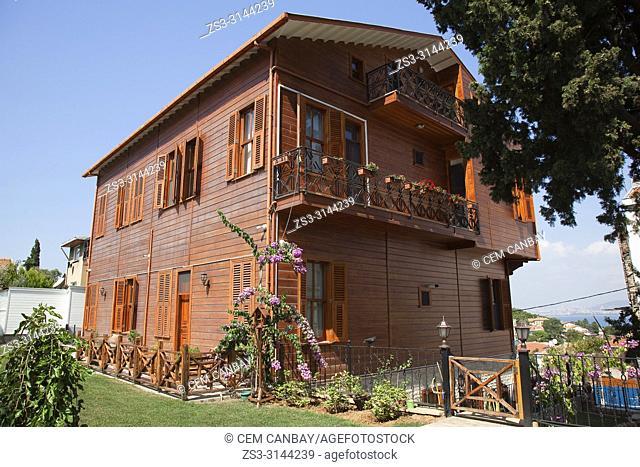 Traditional wooden house in Heybeliada-Halki, Prince Islands, Marmara Sea, Istanbul, Turkey, Europe