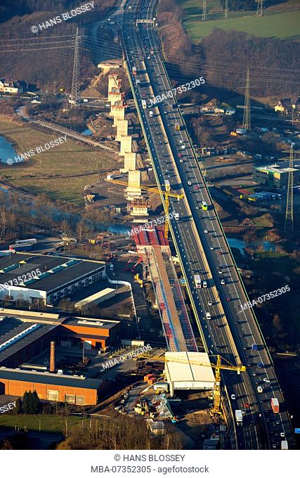Ramshackle Autobahn bridges Expansion of the A45 Ruhr bridge Autobahn near Hagen, Hagen, Ruhr area, North Rhine-Westphalia, Germany