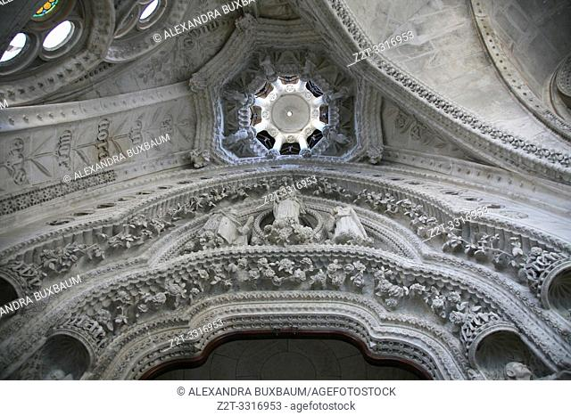 Interior ceiling at Sagrada Familia, Barcelona, Spain